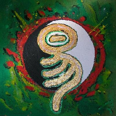 yi-Kalligraphie - die Wandlung, Ein Drache, ein Chamäleon ?? Direkt zur Übersichtstabelle aller Kalligraphien klicken Sie hier - Danke für Ihr Interesse